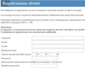 registrazione utente