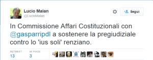 Tweet dell'On. Malan Lucio