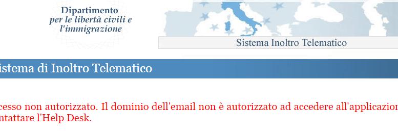Accesso non autorizzato. Il dominio dell'email non è autorizzato ad accedere all'applicazione. Contattare l'Help Desk.