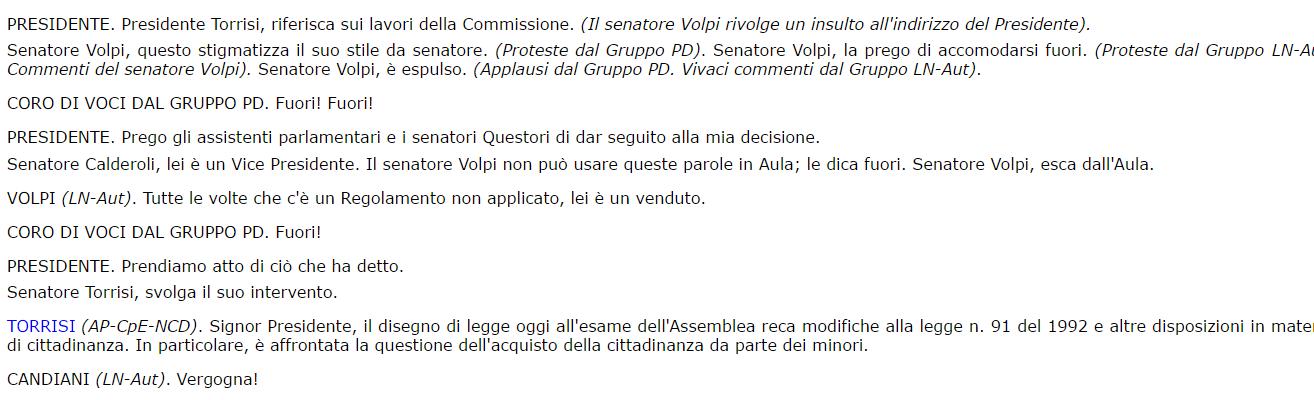 espulsione senatore Volpi Atto Senato n. 2092