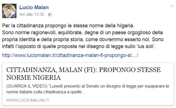 senatore Lucio Malan su riforma ius soli e cittadinanza nigeria