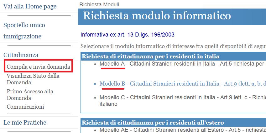 moduli online cittadinanza italiana