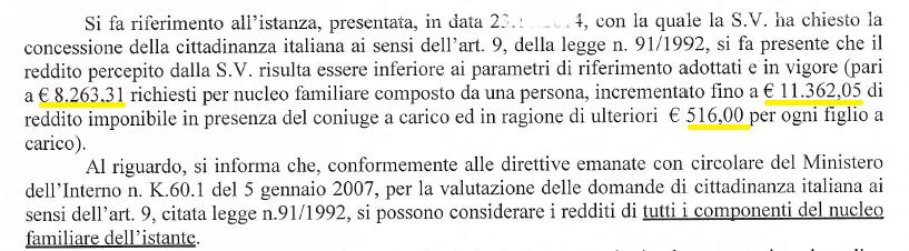 redditi indicazioni Ministero dell'Interno