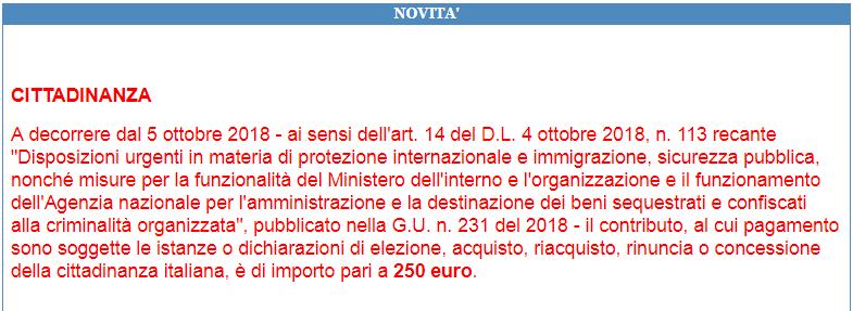 250 euro bollettino cittadinanza