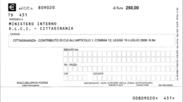 bollettino cittadinanza 250 euro