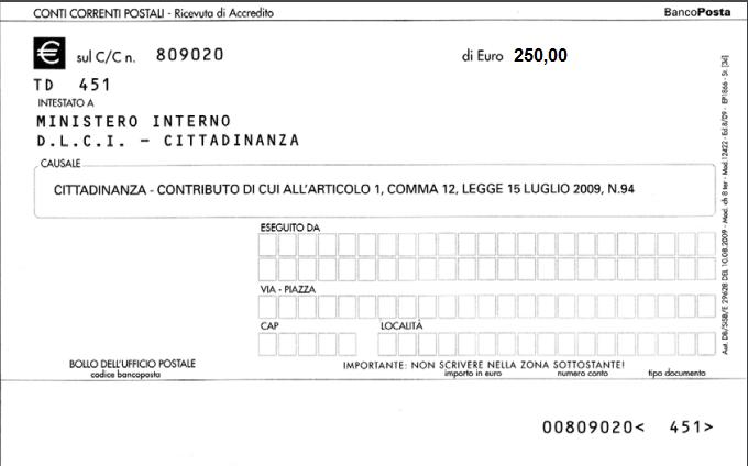 bollettino cittadinanza 250 euro