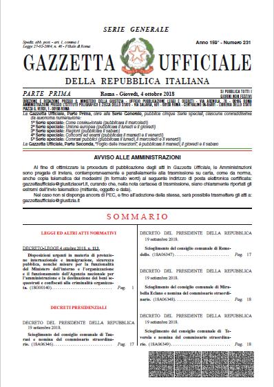 gazzetta ufficiale decreto salvini cittadinanze