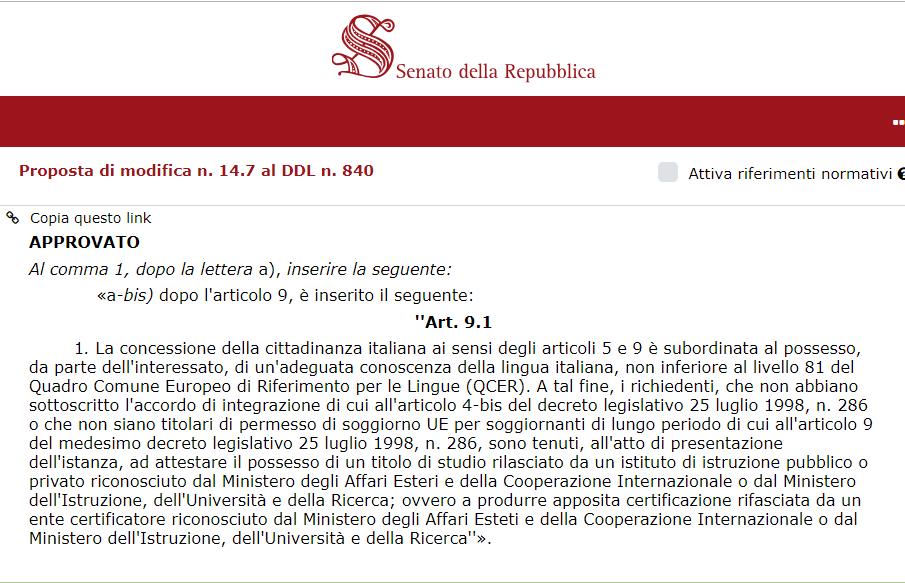 lingua italiana decreto salvini