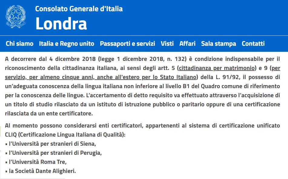 avviso consolato londra conoscenza lingua italiana cittadinanza