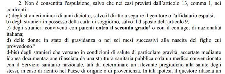 una serie di categorie protette (secondo comma dell'art.19 del T.U.) che non possono essere espulse