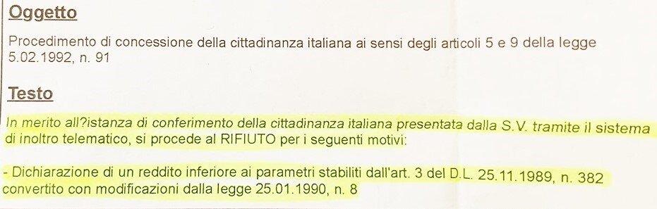 rifiuto per redditi inferiori ai parametri stabiliti per la cittadinanza italiana