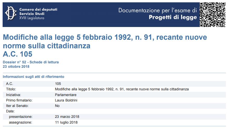 """Proposta di legge: BOLDRINI ed altri: """"Modifiche alla legge 5 febbraio 1992, n. 91, recante nuove norme sulla cittadinanza"""" (atti Camera 105)"""